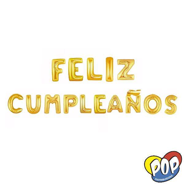 ee206d21903f Globo Letras Feliz Cumpleaños Dorado - Distribuidora Pop