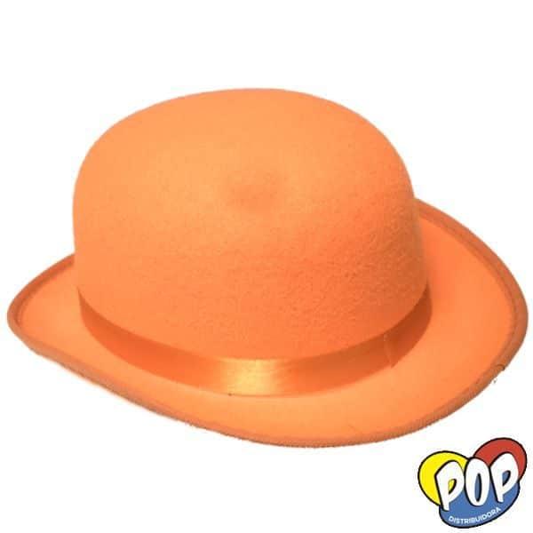 sombrero bombin naranja cotillon